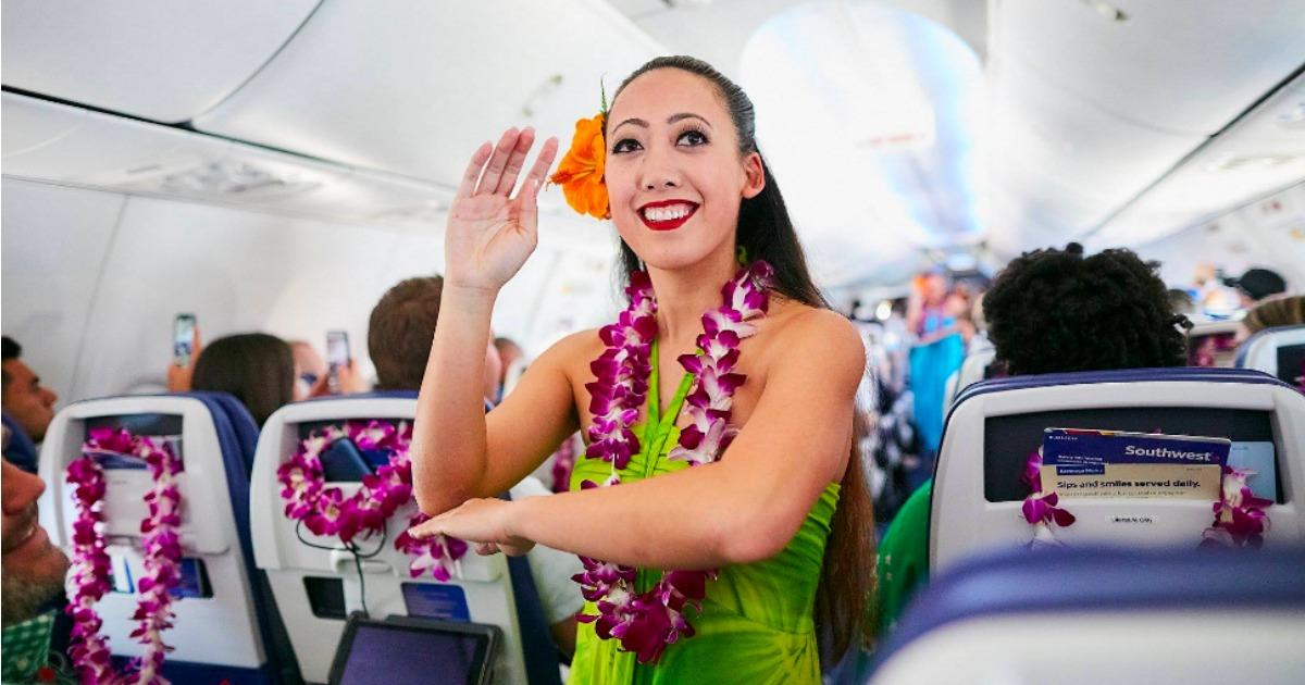 Flight Attendant in Hawaiian Attire on Southwest Airlines flight