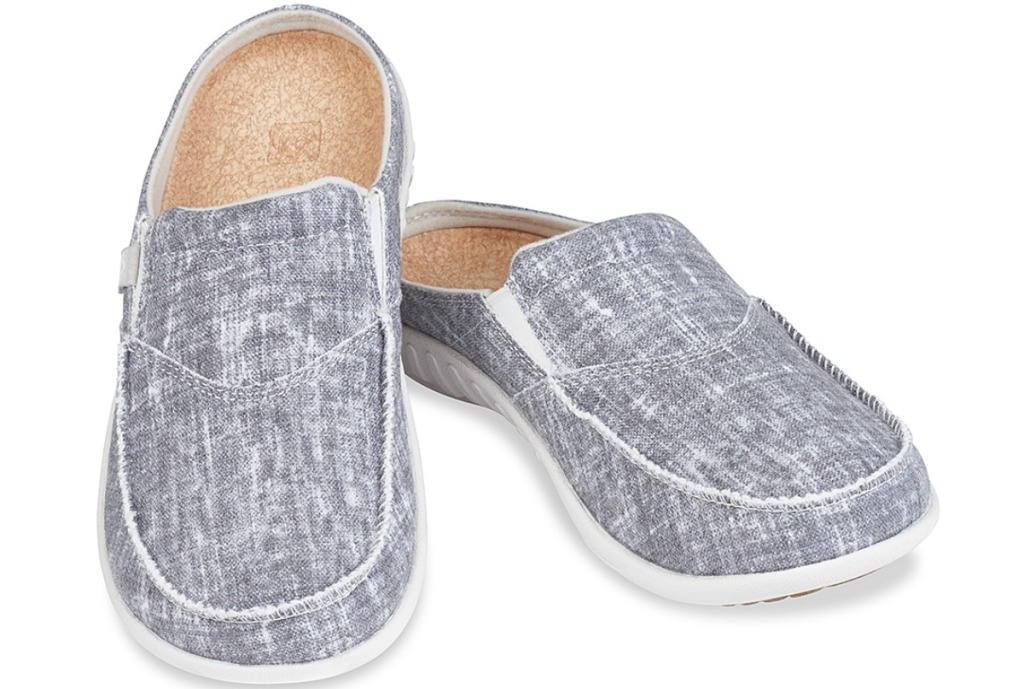 Spenco women's gray chambray mules