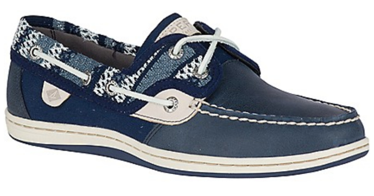 blue and white Sperry Women's Koifish Knit Boat Shoe