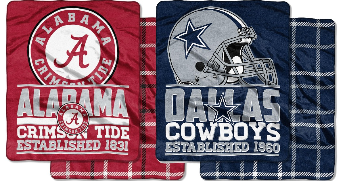 red alabama crimson tide blanket and blue dallas cowboys blanket