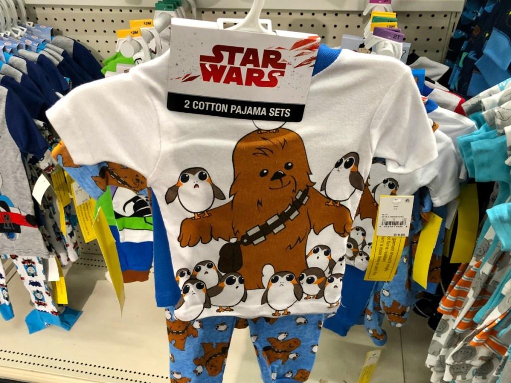 star wars pajama set for toddlers on hanger