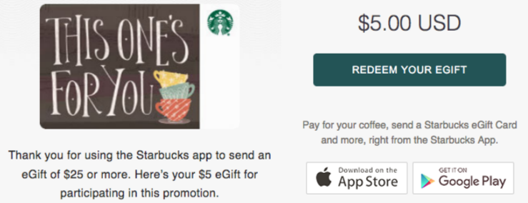 Screenshot of images from email sent for Starbucks $5 bonus egift card offer