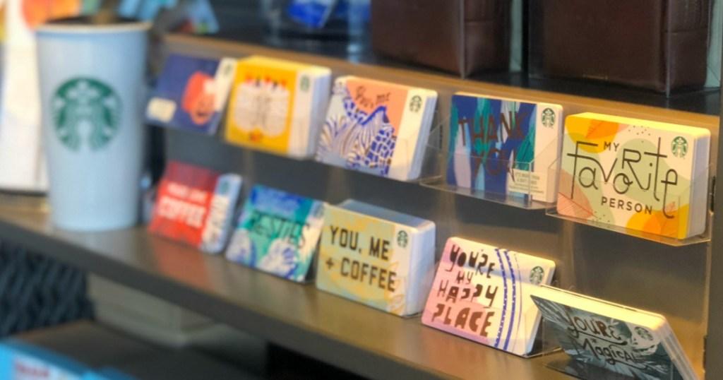 Starbucks gift cards on shelf
