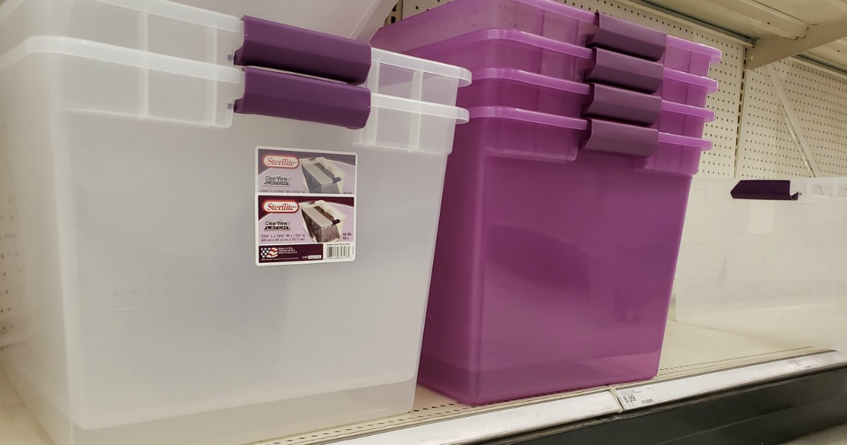 clear bins with purple handles on store shelf