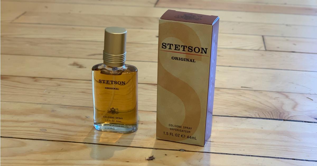 stetson original men's cologne spray on wood floor