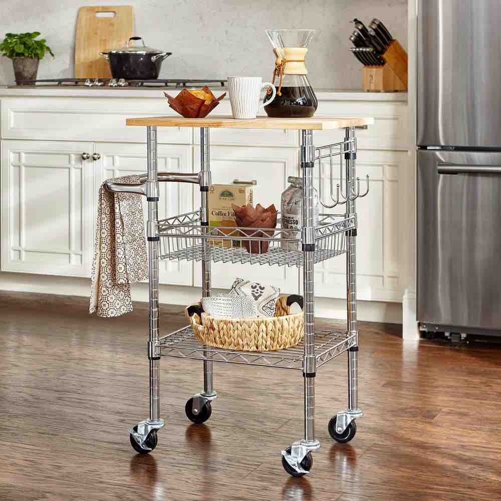 Kitchen Cart with Coffee Accessories