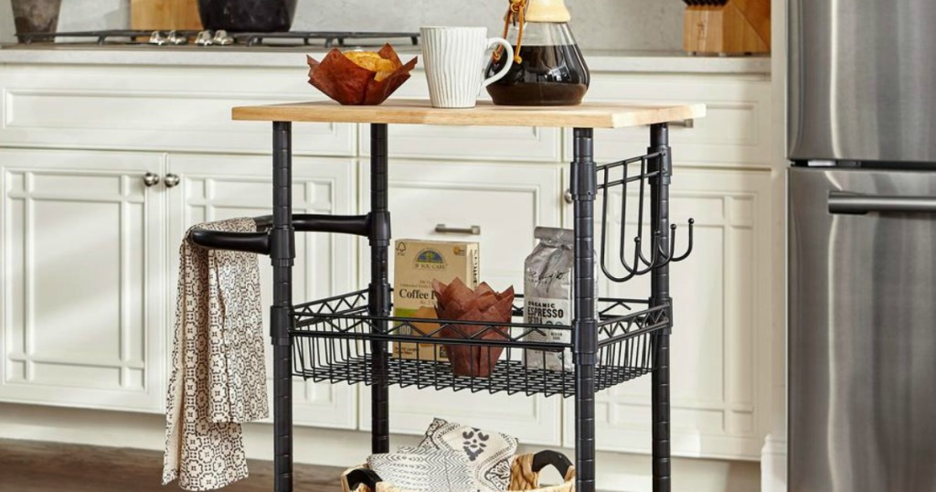 Kitchen Cart with Coffee Items