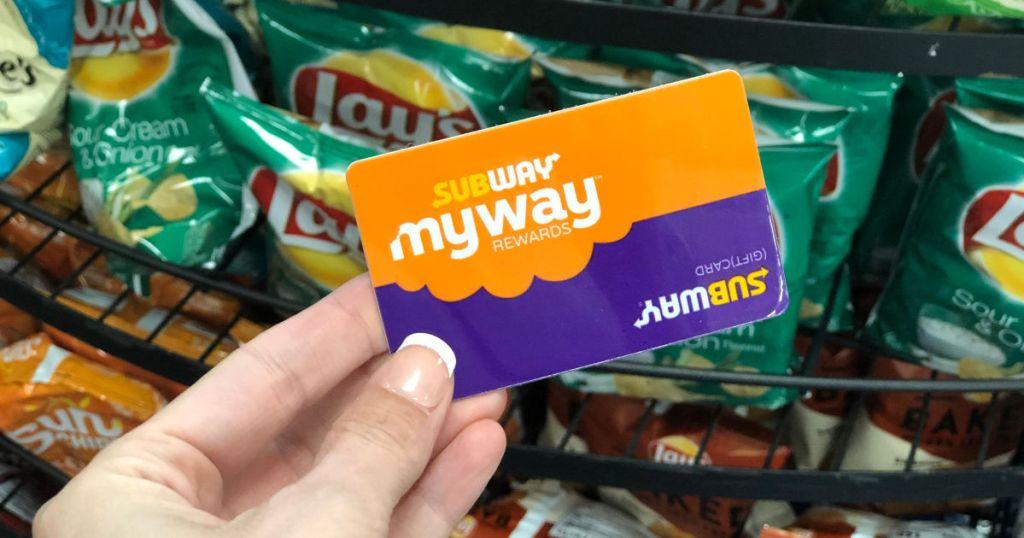subway rewards card, subway chips