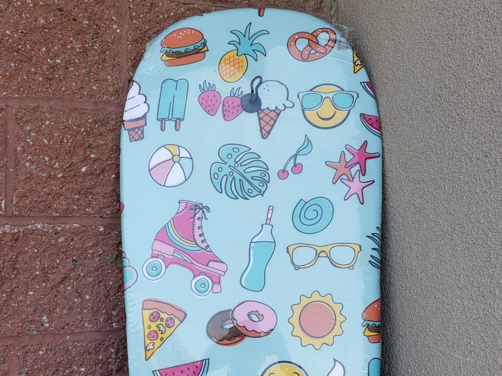 summer icons on blue bodyboard at Michaels