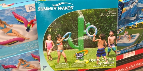 Fun Outdoor Finds at ALDI (Cactus Sprinkler, Stearns Puddle Jumpers, Pool Floats & More)
