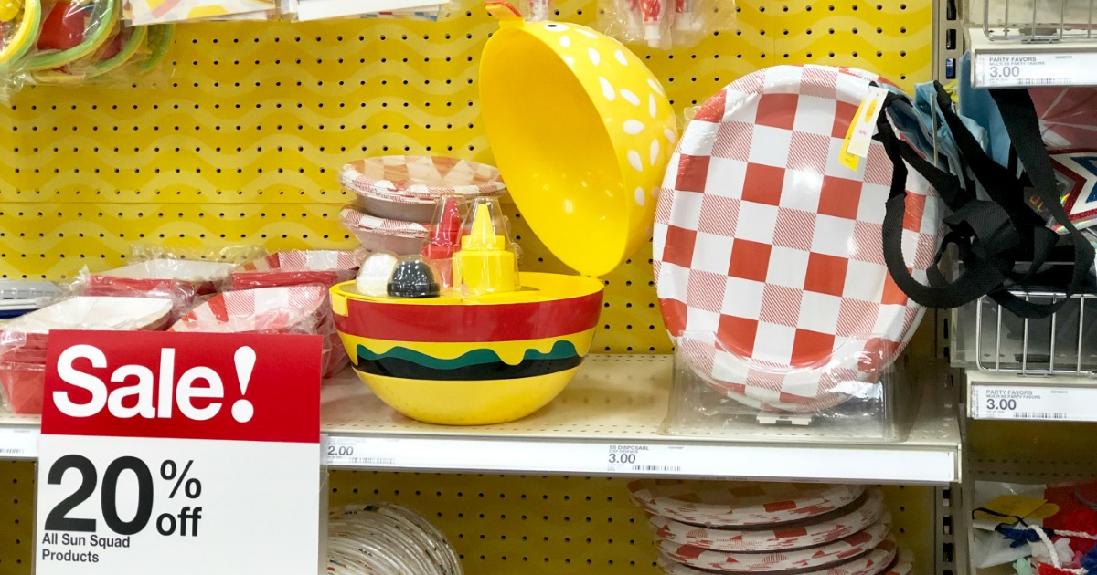Sun Squad Burger Caddy on shelf near sale sign at Target
