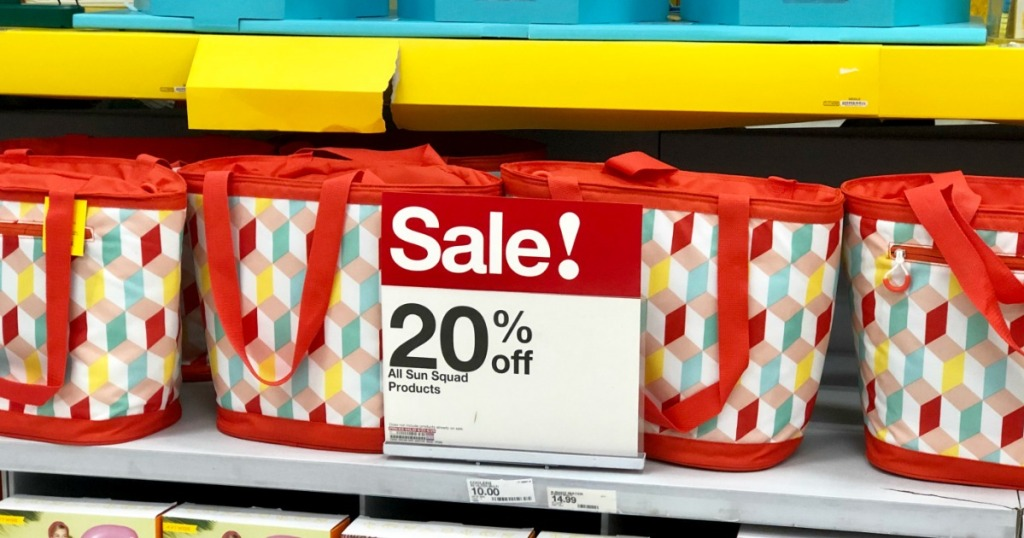 Sun Squad Tote Coolers behind sale sign