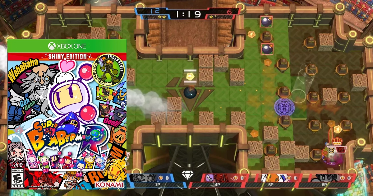 Super Bomberman Game for Xbox one, screenshot of game in live action with image of game cover to the left of the picture
