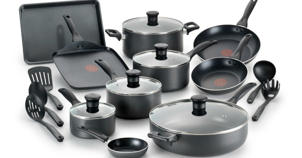 all the pieces of this T-fal Easy Care Thermo-Spot Non-Stick 20-Piece Cookware Set are being displayed together