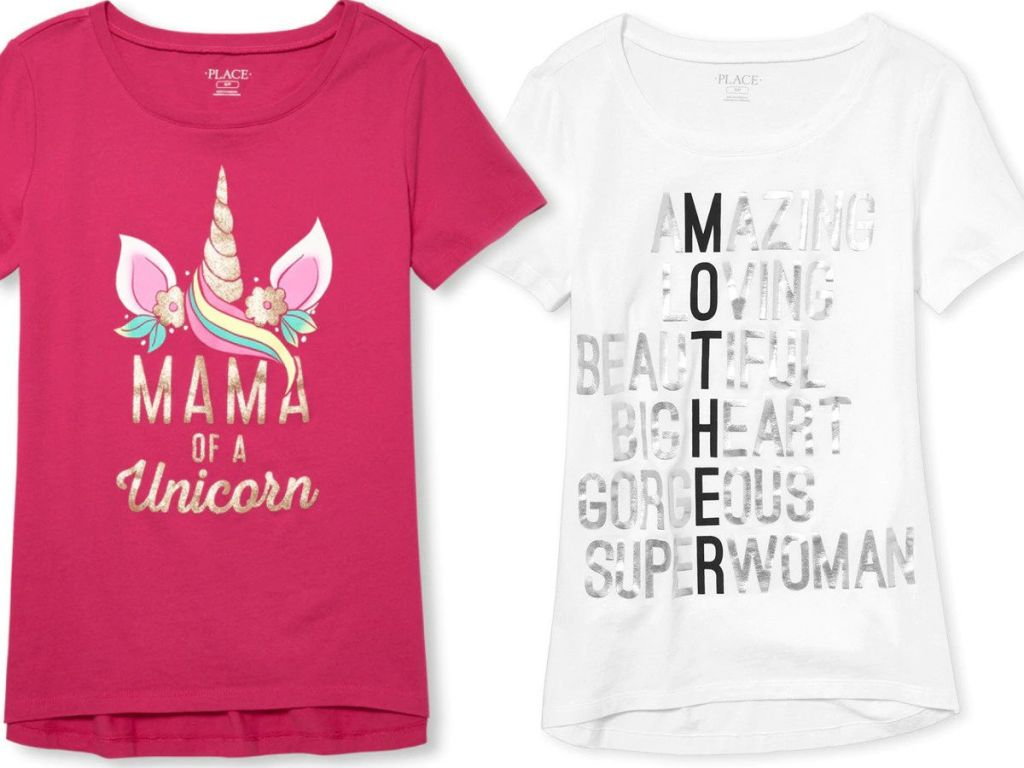 the childrens place mom tshirts mama of a unicorn in pink and mother Definition in white, black, and silver
