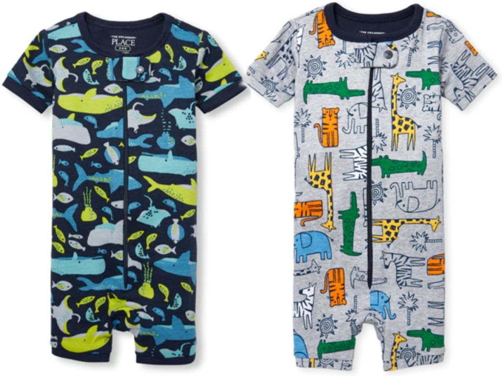 The Children's Place Boys one piece pajams in whales and zoo animals