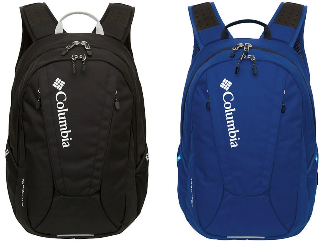 a blue backpack and a black backpack