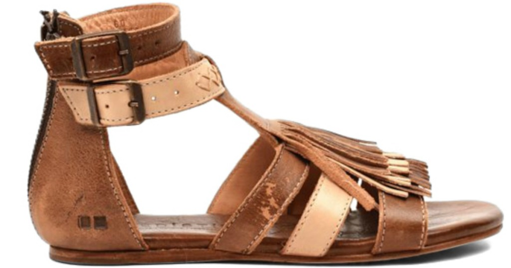 tan and bone colored gladiator sandals with tassels
