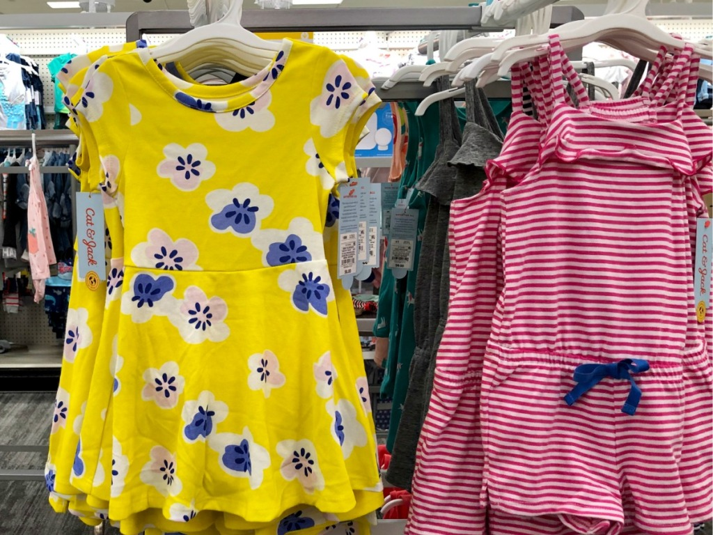 Target girls rompers on clothes rack