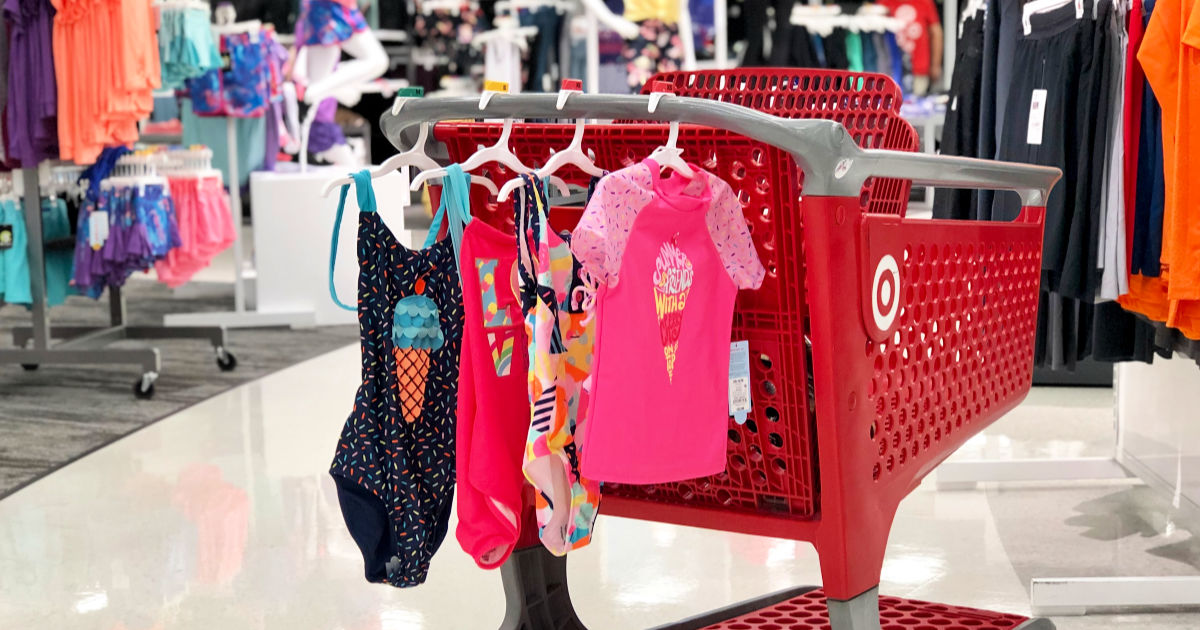 Target girls swim wear including icecream pink rash guard and three one piece bathensuits