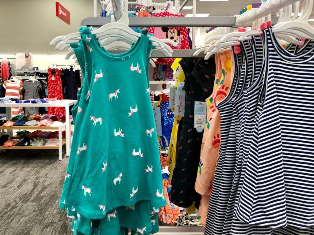 toddler girl dresses hanging on racks