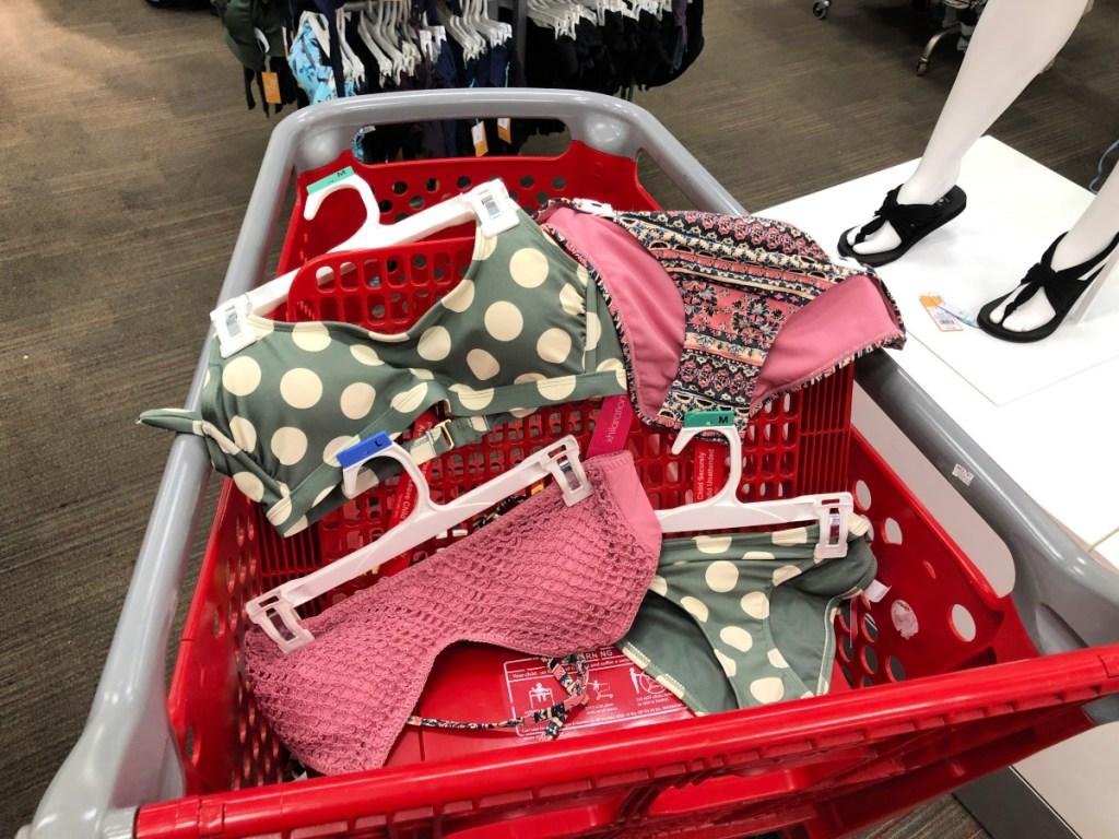 olive and cream color polka dot bikini and mauve knitted bikini in target cart
