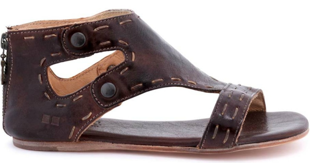 dark brown sandals with outside stitching