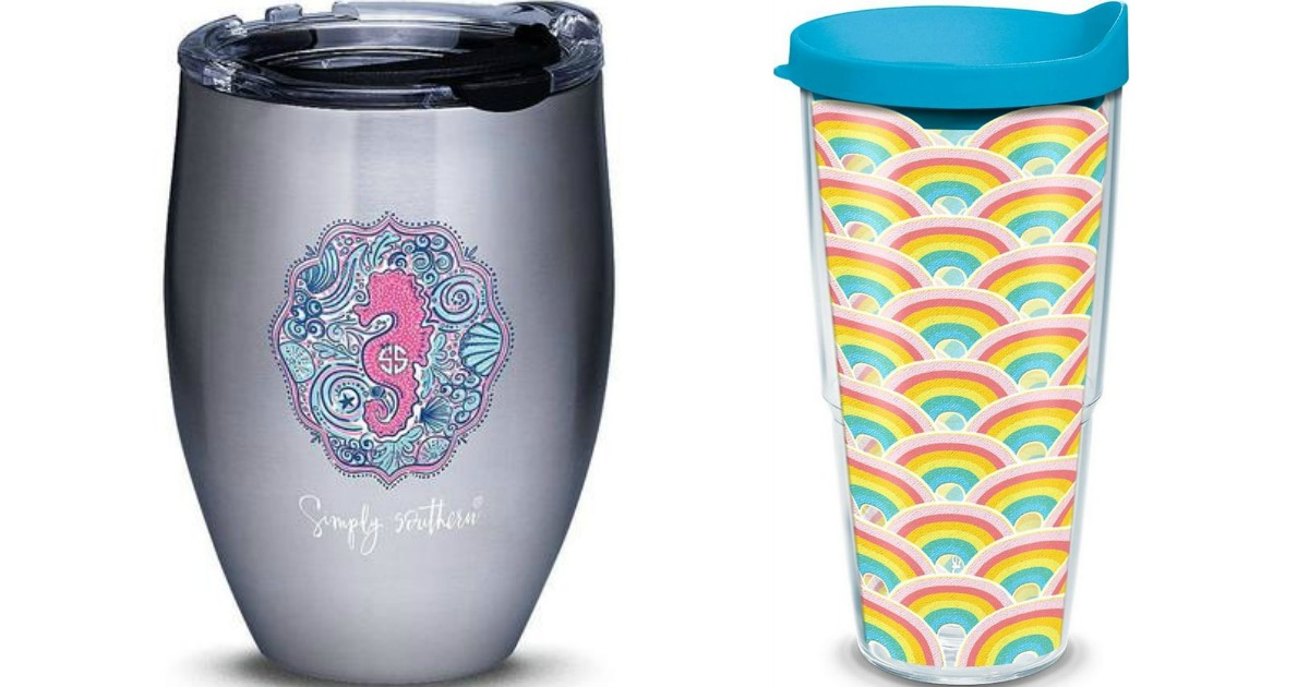 stainless steel tumbler with seahorse and rainbow tumbler