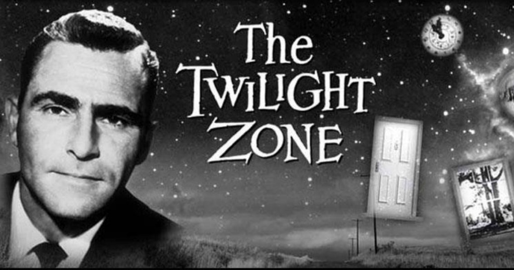The Twilight Zone logo and host in black and white