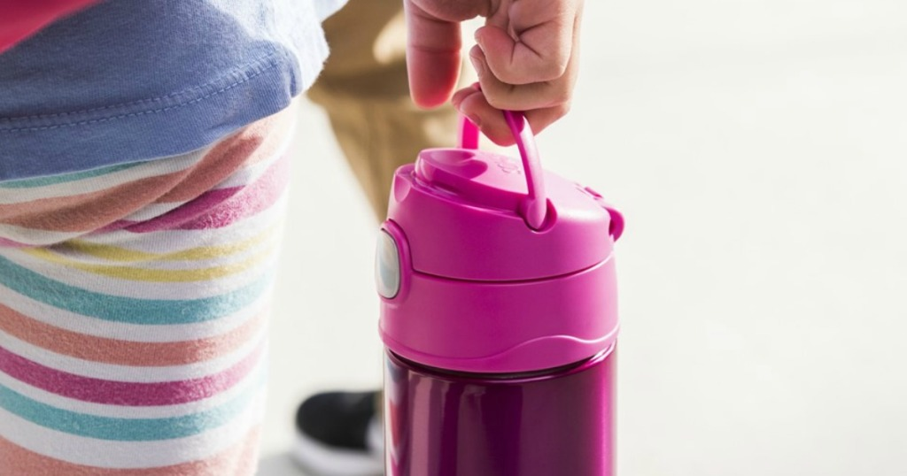 hand carrying pink thermos funtainer