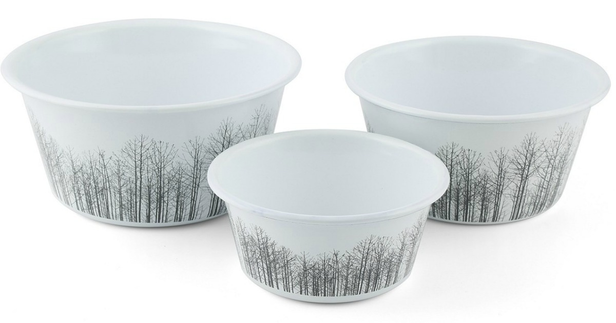 3 thirstystone decal enamel tree pattern bowls