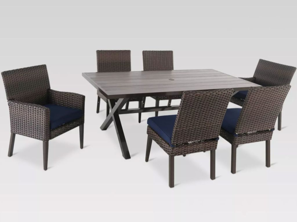 Threshold Halsted 7-Piece Rectangle Wicker Patio Dining Set