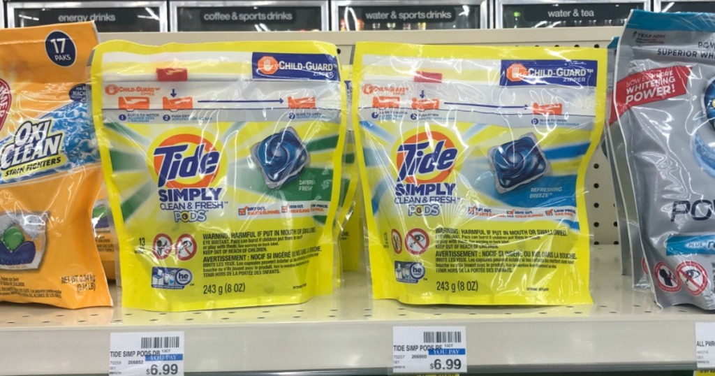 Tide Simply laundry detergent pacs on shelf at Walgreens