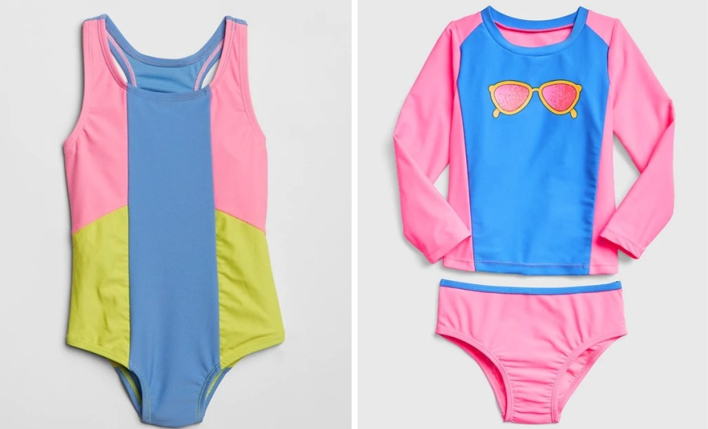 Colorblock pastel swimsuit and pink and blue girls swimsuit with sunglass icon