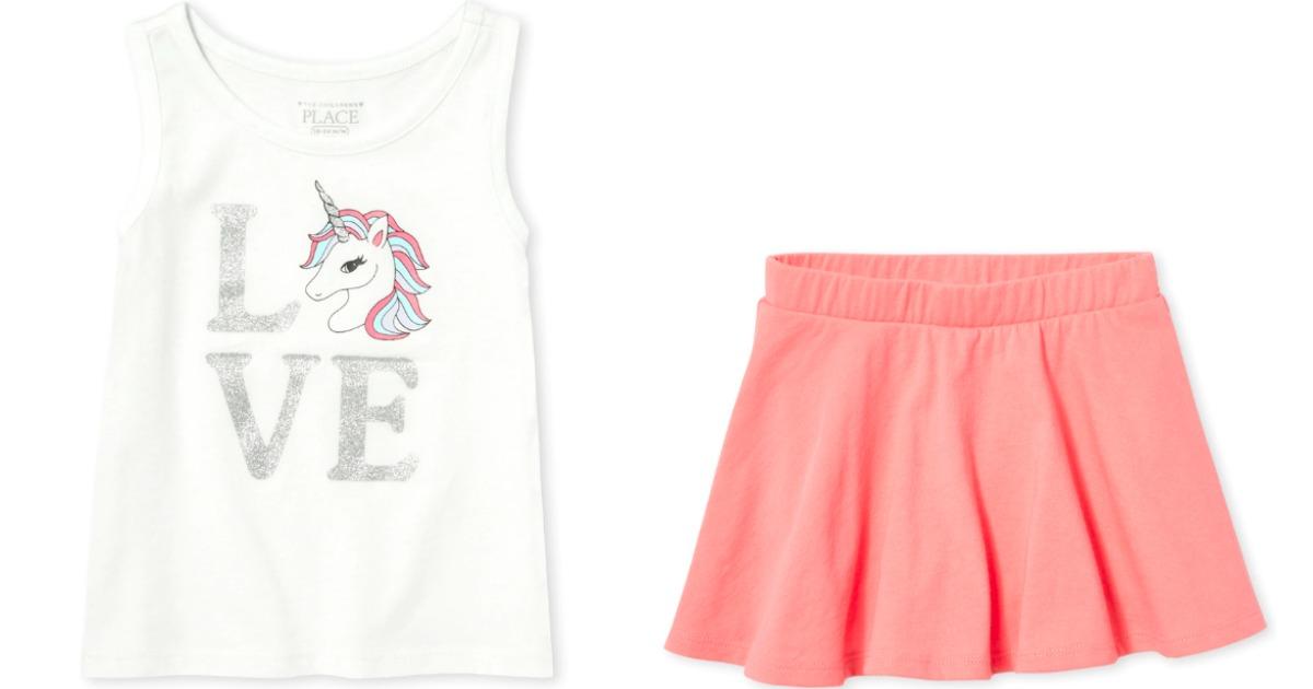 girl's unicorn tank and skort
