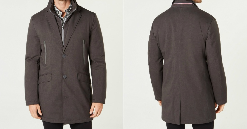 man modeling front and back of peacoat
