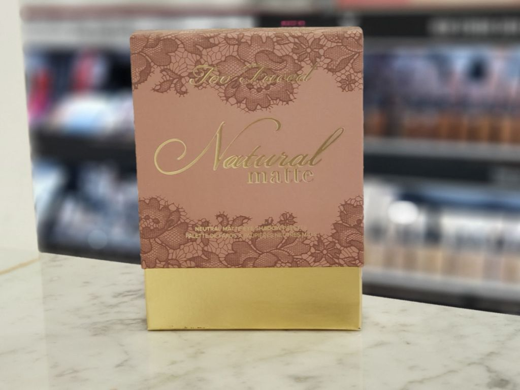 Too Faced Natural Matte Eye Shadow Palette on shelf in macy's