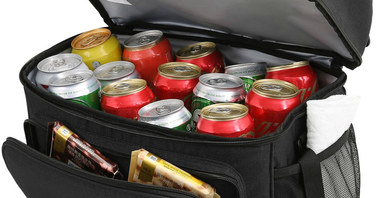 cooler with drinks and snacks