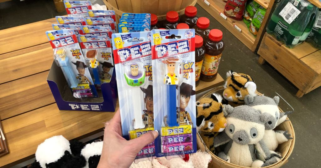 Toy Story PEZ Dispenser Buzz Lightyear, Woody, and Bo Peep with Pez Candy and sweet lea sweet tea and stuffed animals