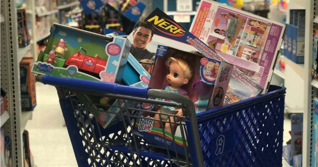 ToysRUs shopping cart filled with toys