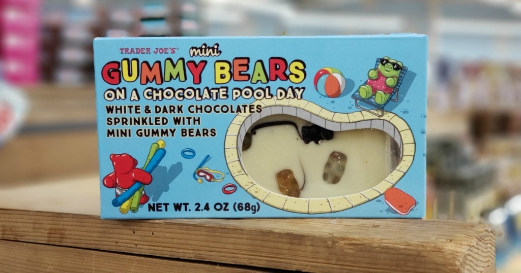 Box of Trader Joe's Mini Gummy Bears on a Chocolate Pool Day on wood shelf