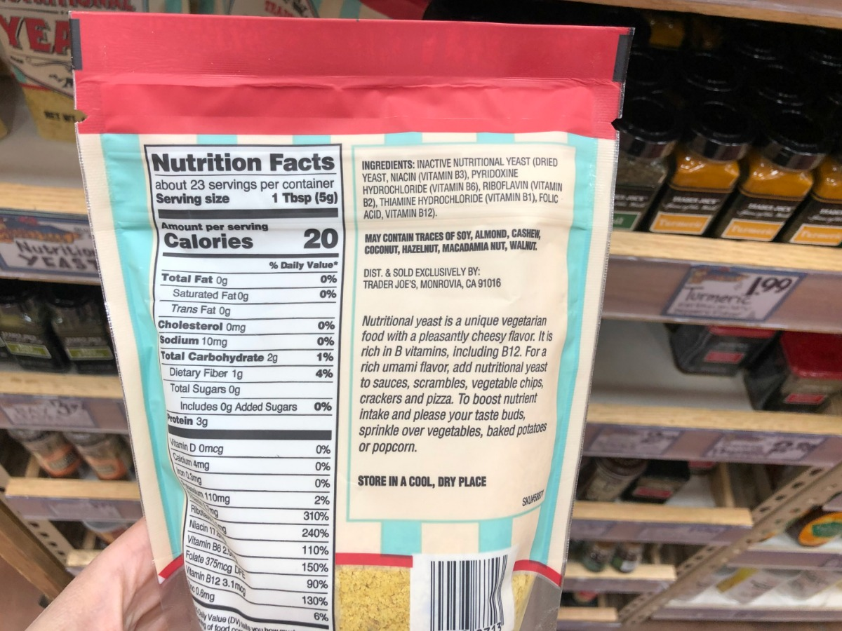 Nutritional info for Trader Joe's nutritional yeast