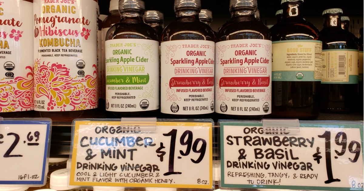 Trader Joe's Organic Drinking Vinegars on store shelf