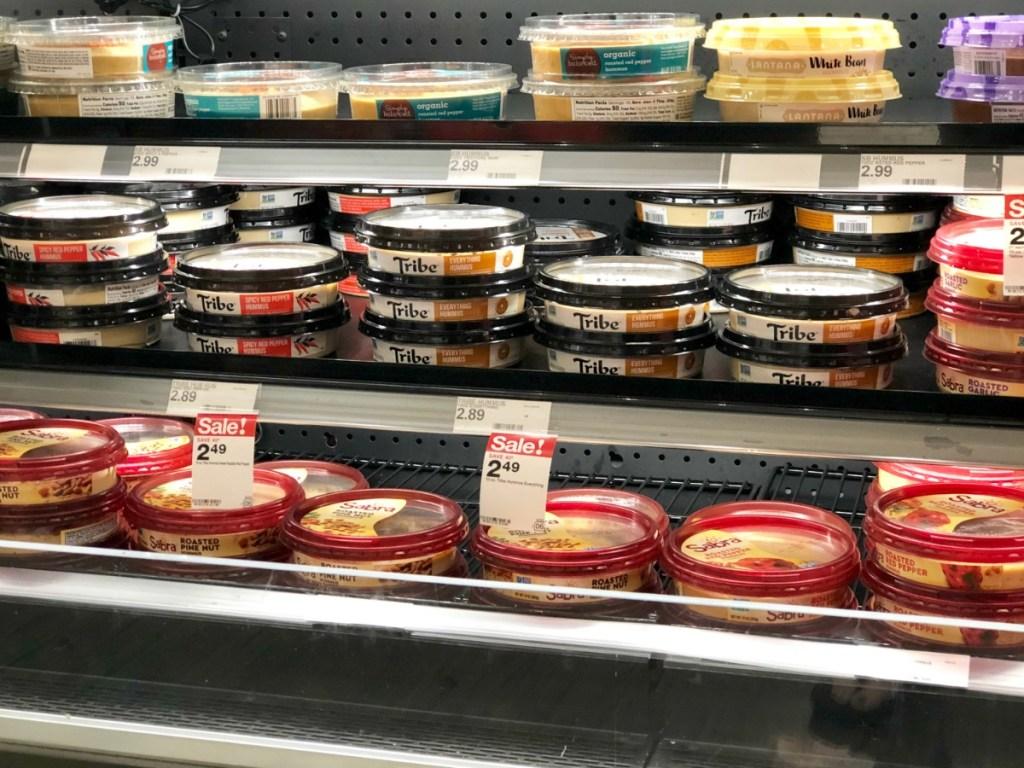 tribe hummus on store shelf