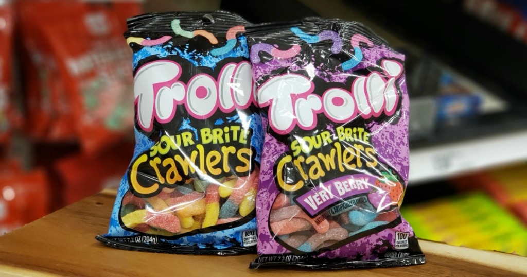 two trolli sour brite crawlers bags on shelf at target