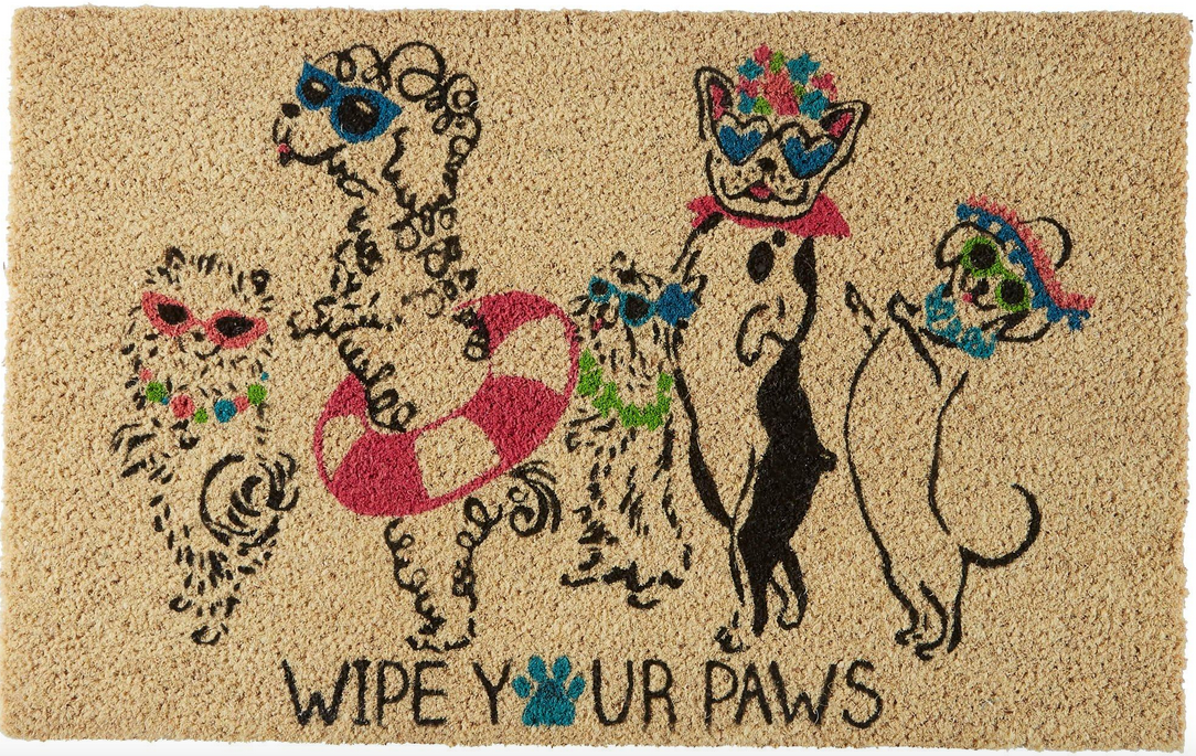 Wipe Your Paws door mat with partying dogs
