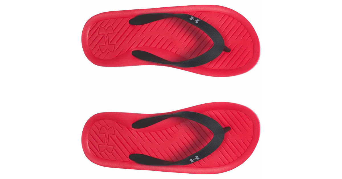 red boys under armour flip flops