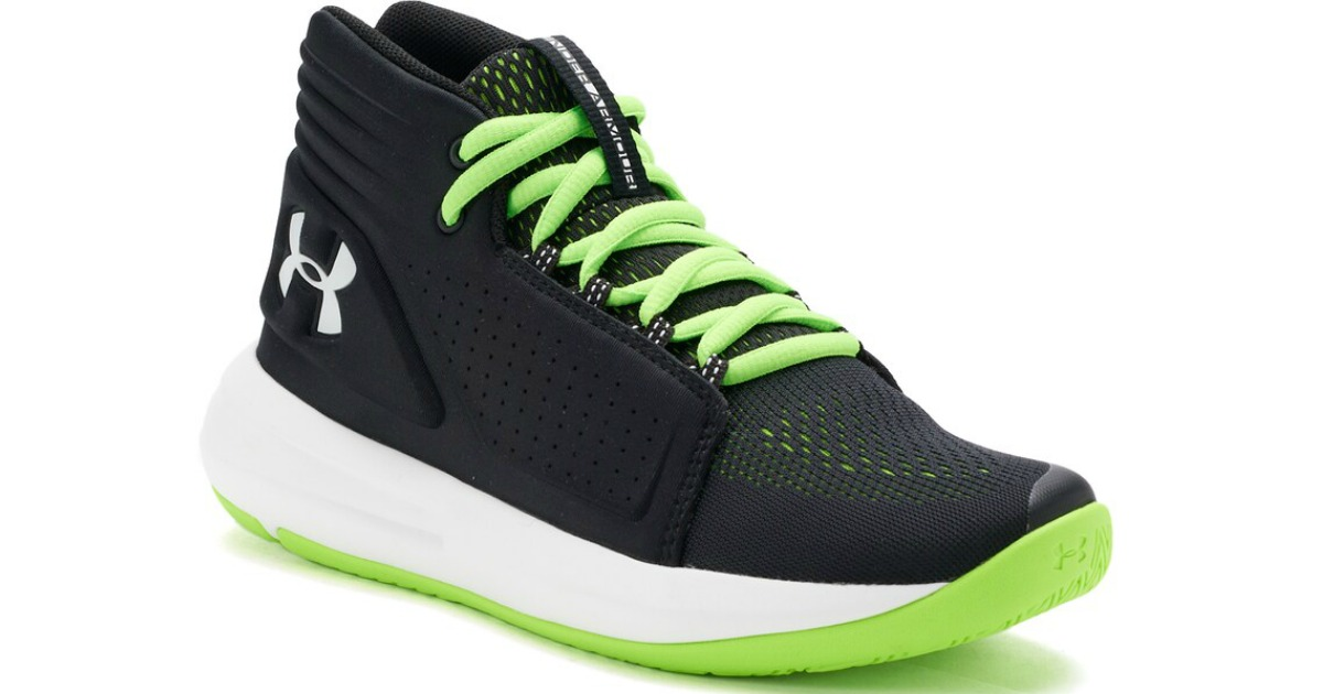 black and green under armour kid's high tops