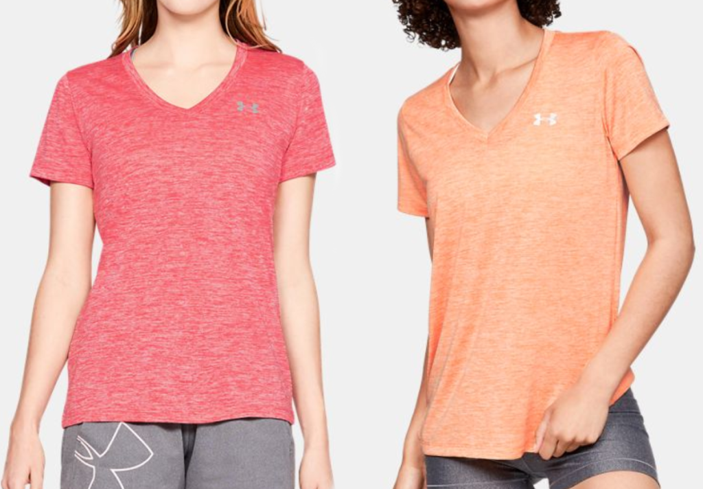 two colors of Under Armour v-neck women's tees stock image