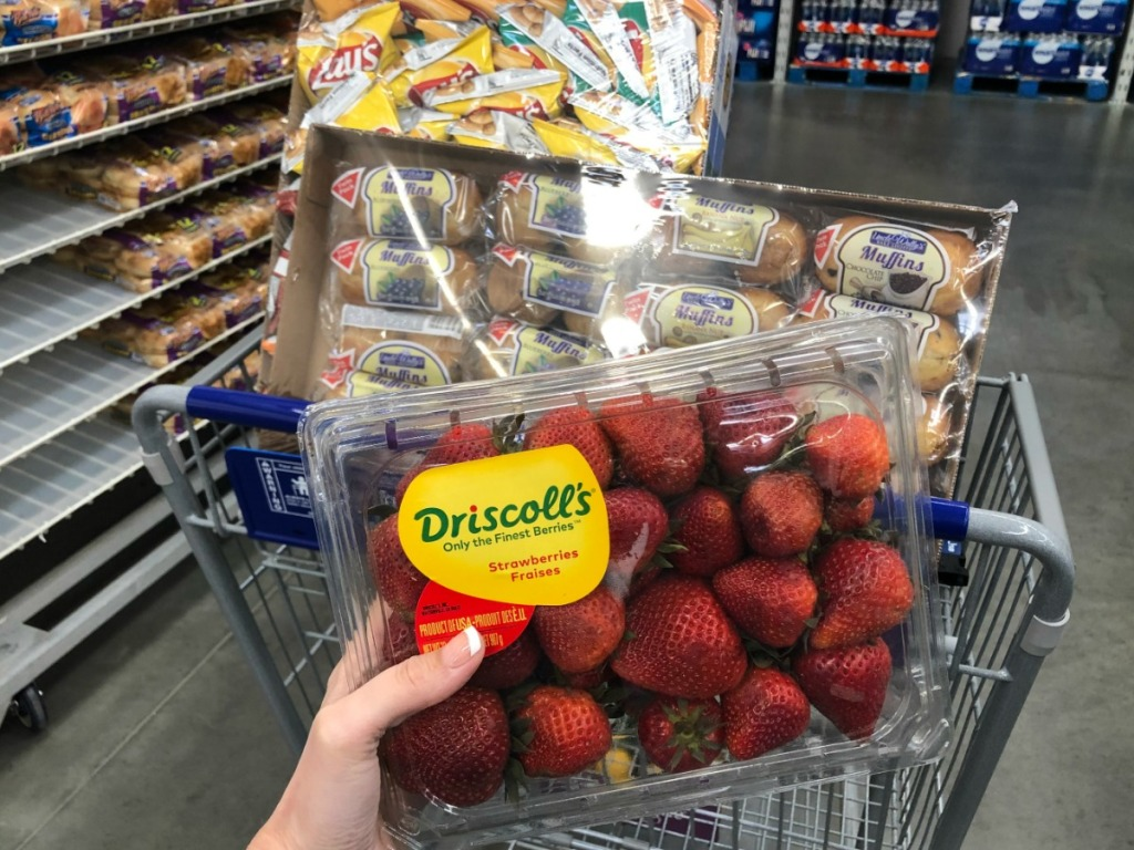 lady holding strawberries with muffins in the background at Sam's